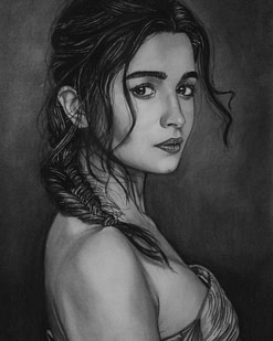 Women Charcoal Pencil Drawing