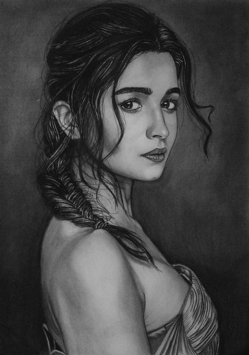 Women Charcoal Pencil Drawing